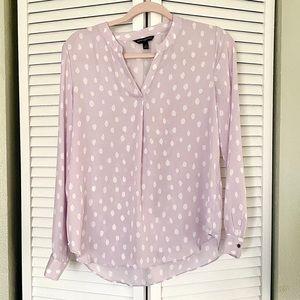 Banana Republic pink purple blouse polkadot
